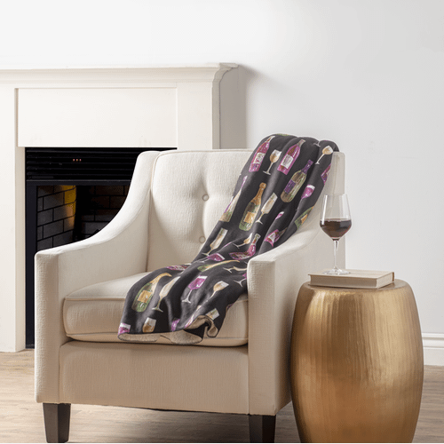 Printed Throw - Repeat wine bottle and wine glass print
