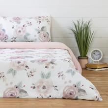 Dreamit - Duvet Cover Watercolor Floral, White and Pink, Twin