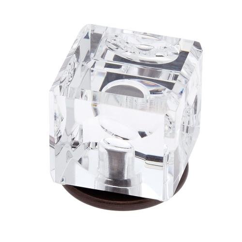Old World Bronze 30 mm Square Crystal Knob