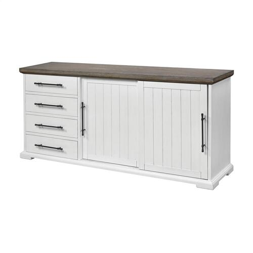 Locksmith Sliding Door Credenza With 4 Drawers