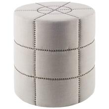 "See Details - Beacon I 20.5""H Cream Fabric w/Metal Tacks Round Ottoman"