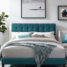 Paisley Tufted King and California King Upholstered Linen Fabric Headboard in Teal