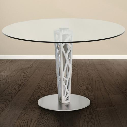 """Armen Living Crystal 48"""" Round Dining Table in Gray Walnut Veneer column and Brushed Stainless Steel finish with Clear Tempered Glass Top"""