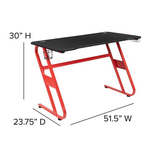 Flash Furniture - Red Gaming Ergonomic Desk with Cup Holder and Headphone Hook