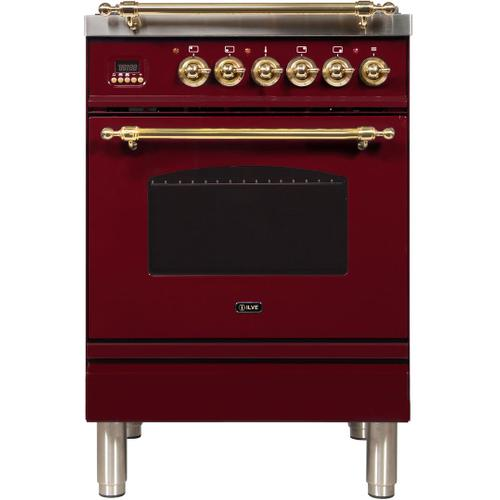Nostalgie 24 Inch Dual Fuel Liquid Propane Freestanding Range in Burgundy with Brass Trim