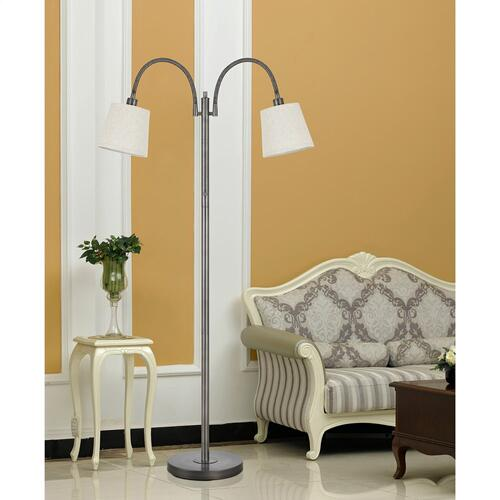 40W X 2 Gail Metal Gooseneck Floor Lamp With Burlap Shade