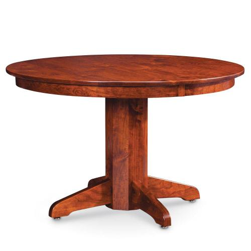 """Simply Amish - Shenandoah Single Pedestal Table, 60"""" Round (Max 2 Leaves) / 18"""" Sliding Butterfly Leaf"""