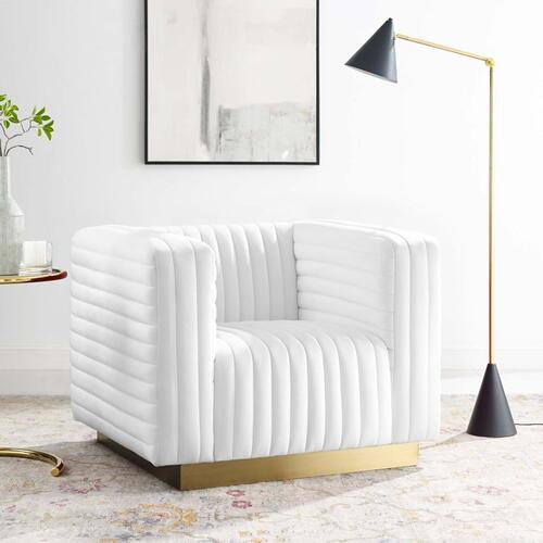 Charisma Channel Tufted Performance Velvet Accent Armchair in White