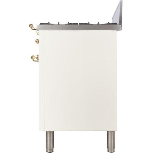 Nostalgie 30 Inch Gas Natural Gas Freestanding Range in White with Brass Trim