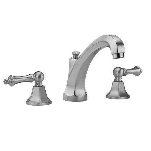Jaclo - Satin Gold - Astor High Profile Faucet with Ball Lever Handles & Fully Polished & Plated Pop-Up Drain