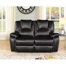 8084 BLACK Manual Recliner Air Leather Loveseat