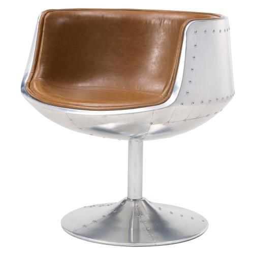 Conan PU Swivel Chair Aluminum Frame, Distressed Caramel