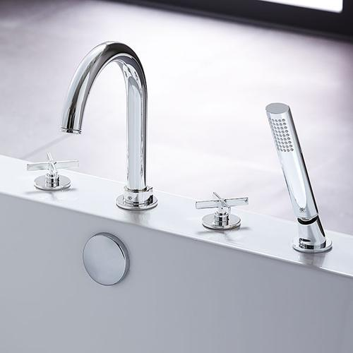 Percy Deck-Mounted Bathtub Faucet with Cross Handles - Polished Chrome