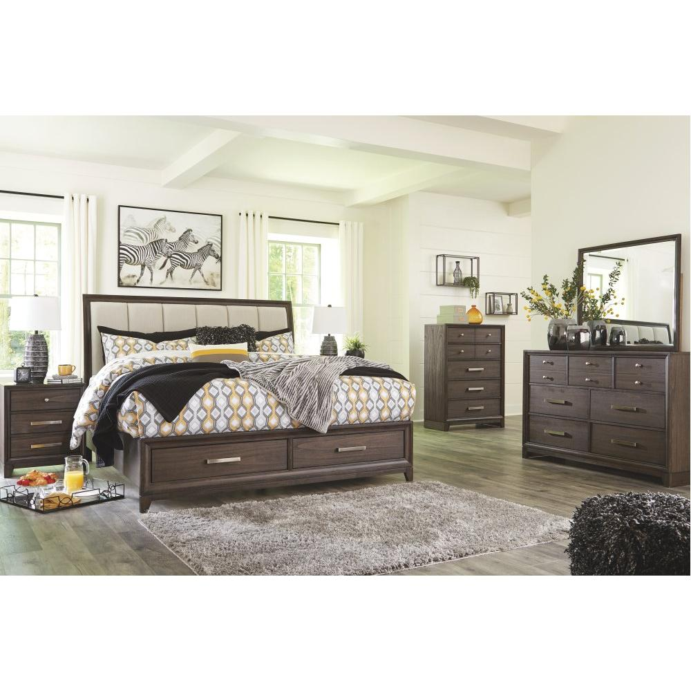 Brueban California King Panel Bed With 2 Storage Drawers