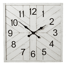 Square Whitewash Shiplap Inlay Wall Clock