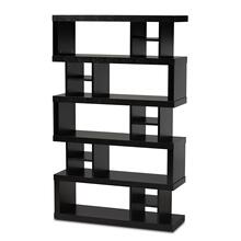 See Details - Baxton Studio Dora Modern and Contemporary Dark Brown Finished Wood 5-Tier Geometric Bookshelf