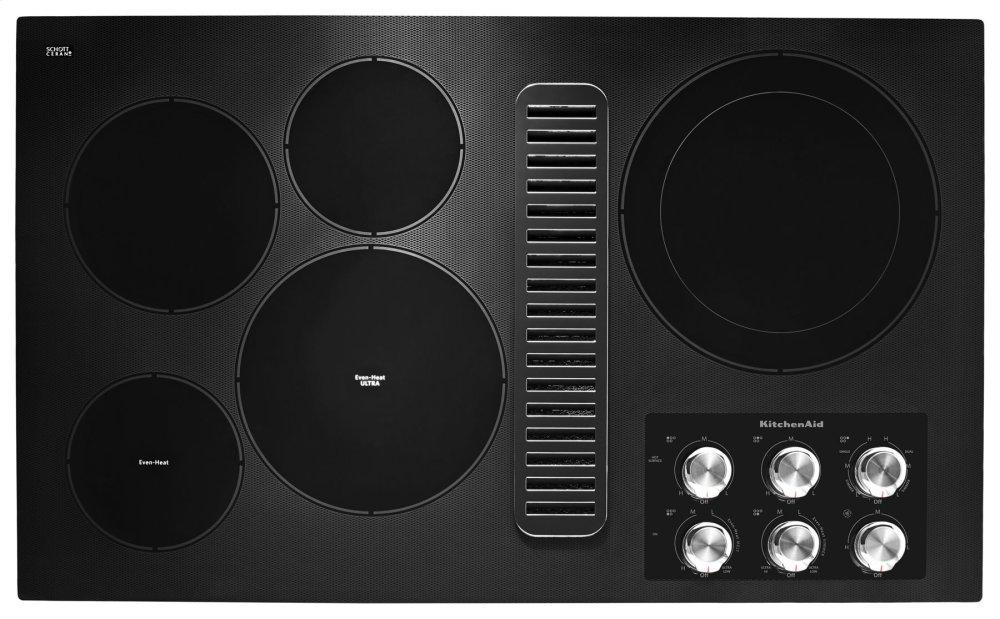 """Kitchenaid36"""" Electric Downdraft Cooktop With 5 Elements - Black"""