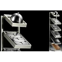 Accessory Pack and Display Stand with Bain-Marie, Steam Cooker, Steak Pans, Chopping Board, BBQ Grill, and Griddle Dome