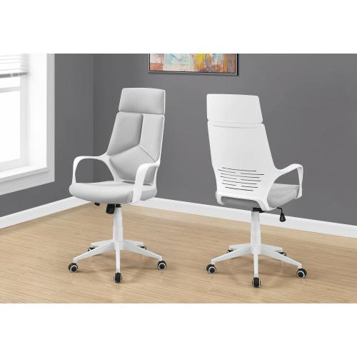Gallery - OFFICE CHAIR - WHITE / GREY FABRIC / HIGH BACK EXECUTIVE