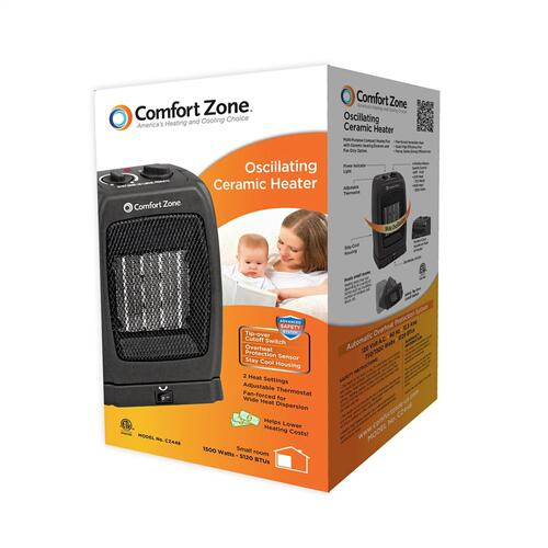 CZ448 Ceramic Electric Portable Fan-Forced Heater, Black