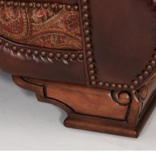 Leather/fabric Loveseat