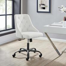 Distinct Tufted Swivel Upholstered Office Chair in Black White