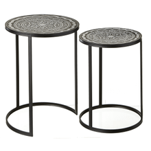 Black & White Embossed Medallion Side Table (2 pc. set)