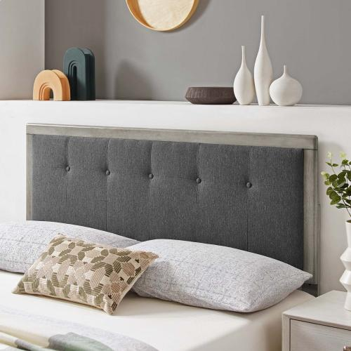 Draper Tufted Twin Fabric and Wood Headboard in Gray Charcoal