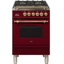 Product Image - Nostalgie 24 Inch Dual Fuel Natural Gas Freestanding Range in Burgundy with Brass Trim