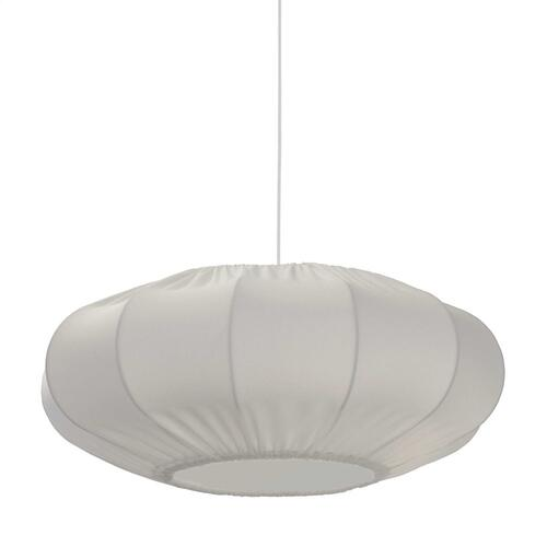 1lt Zoey Pendant White Shade, Fabric Diff, White