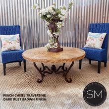 "See Details - OUTDOORS Modern Travertine Stone Coffee Table 1211 AAA - 48""Rd / Dark Rust Brown / Cream Bullnose Travertine"