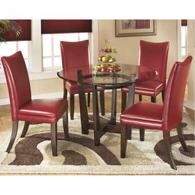 Charrell Table & 4 Chairs Medium Brown/Red