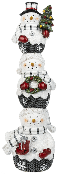 Snowman Stack with Christmas Tree Figurine