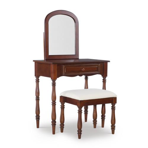 1-drawer Vanity With Upholstered Seat Stool, Rich Cherry
