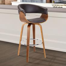 """View Product - Armen Living Julyssa 30"""" Mid-Century Swivel Bar Height Barstool in Brown Faux Leather with Walnut Wood"""