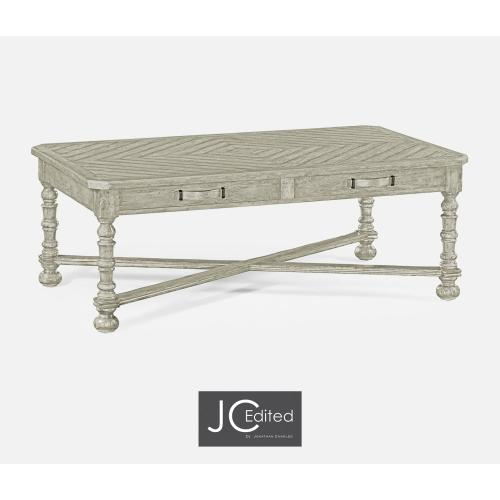 Rustic Grey Parquet Coffee Table with Strap Handles