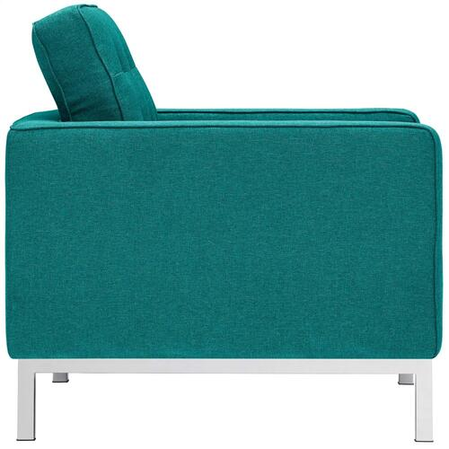 Loft 3 Piece Upholstered Fabric Sofa and Armchair Set in Teal