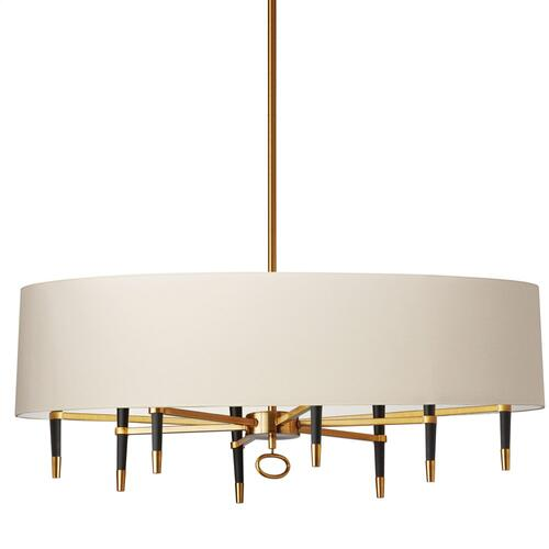 8lt Incandescent Chandelier, Vb W/ Cream Shade
