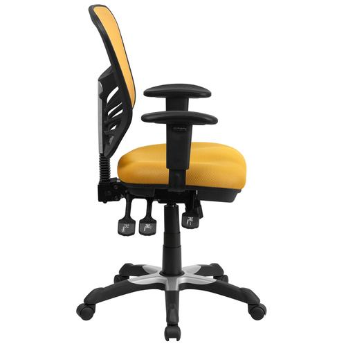 Flash Furniture - Mid-Back Yellow-Orange Mesh Multifunction Executive Swivel Ergonomic Office Chair with Adjustable Arms