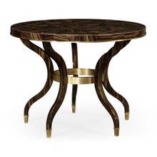 Round Natural Macassar Ebony & Brass Centre Table