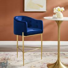 Savour Tufted Performance Velvet Bar Stool in Navy
