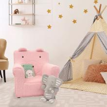 See Details - Critter Sitters 20-In. Plush Pink Bear Animal Shaped Mini Chair - Furniture for Nursery, Bedroom, Playroom, and Living Room Decor, CSBRCHR-PNK
