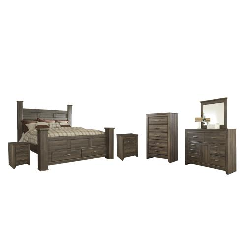 Product Image - King Poster Bed With 2 Storage Drawers With Mirrored Dresser, Chest and 2 Nightstands