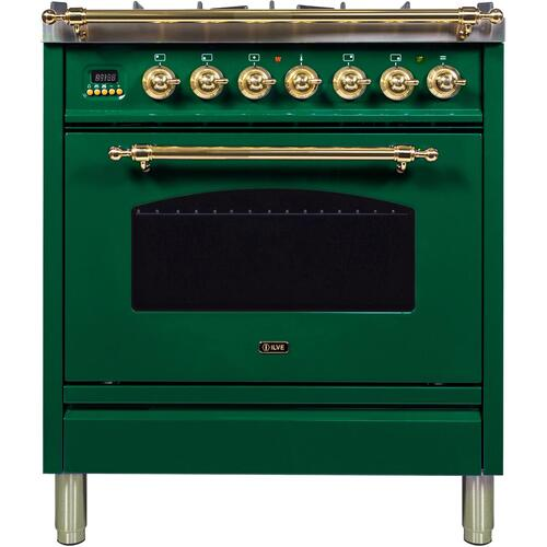 Ilve - Nostalgie 30 Inch Dual Fuel Liquid Propane Freestanding Range in Emerald Green with Brass Trim