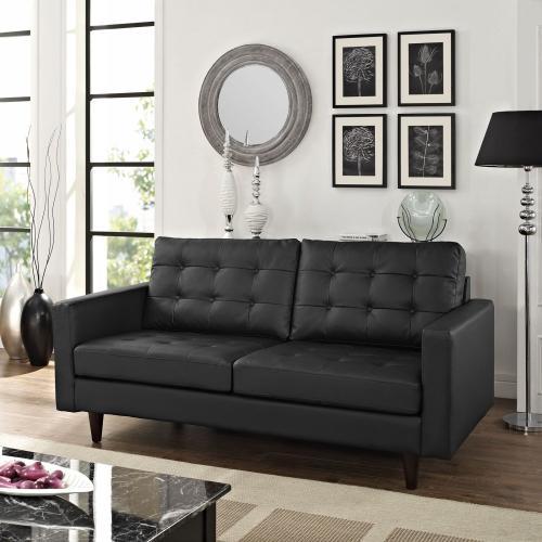 Modway - Empress Bonded Leather Loveseat in Black