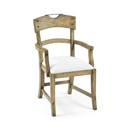 Planked Light Driftwood Dining Arm Chair, Upholstered in COM