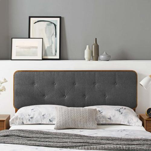 Collins Tufted Queen Fabric and Wood Headboard in Walnut Charcoal
