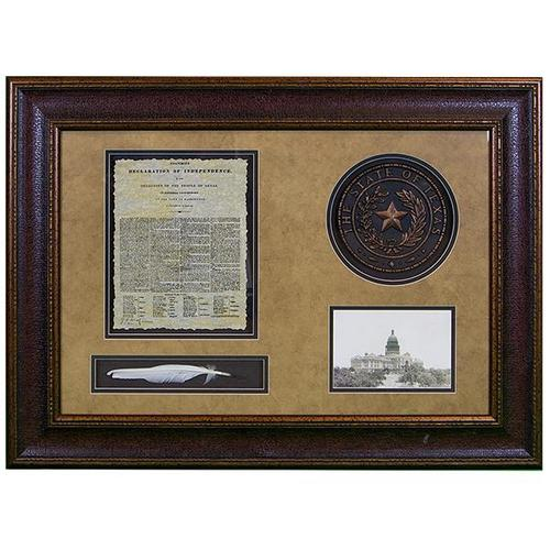 L.M.T. Rustic and Western Imports - Shadowbox W/Seal,Letter & Feather