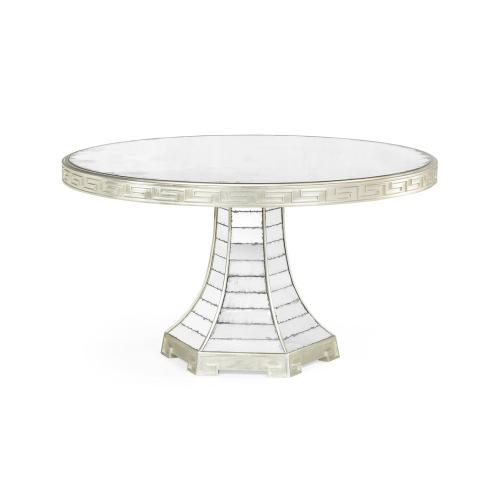 """55"""" Round Champagne Silver-leaf & Antique Glass Mirror Greek Key Dining Table"""
