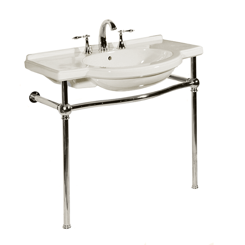White NOUVEAU Console Lavatory with Polished Chrome Metal Finish